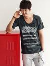 เสื้อยืดคอกลมสไตล์วินเทจแฟชั่นผู้ชายจากเกาหลีมี2สี