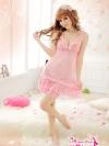 ชุดนอนซีทรูแบบสวยลายน่ารักสีชมพูหวาน ๆ