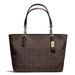 COACH MADISON EAST/WEST TOTE IN NEEDLEPOINT OP ART FABRIC # 26767 สี BRASS/MAHOGANY