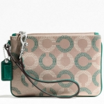 Coach Wristlet Ashley Dotted Op Art Leather Sateen # F49460 สี Khaki Aegean