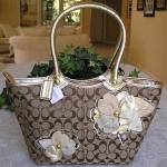 COACH Bleecker Daisy Floral Applique Tote #16276 KHAKI GOLD