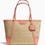 Coach 21959 ALEXANDRA CHAIN STRAW TOTE # 21959 สี BRASS/NATURAL/CORAL