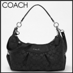 COACH ASHLEY SIGNATURE CONVERTIBLE HOBO # 19766 สี Silver/Black