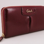 COACH ASHLEY PATENT LEATHER ZIP AROUND WALLET # 48250 สี CRIMSON