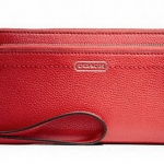 COACH PARK LEATHER DOUBLE ACCORDION ZIP WALLET # 49157 สี VERMILLION