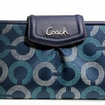 COACH ASHLEY DOTTED OP ART SLIM ENVELOPE WALLET # 48050 สี Navy/Deep Ink