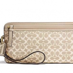 Coach Poppy Signature Metallic Double Zip Wristlet Wallet Purse # 50548 สี Light Khaki