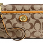 Coach Park Signature Medium Wristlet # 49175 สี Khaki/Orange Spice