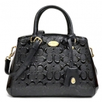 Coach Signature Debossed Embossed Patent Leather Mini Margot Carryall # 35191 สี Black