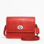 COACH Legacy Leather Mini Crossbody Bag # 48005 สี Silver /Carnelian