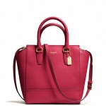 COACH MINI TANNER IN SAFFIANO LEATHER # 50707 สี BRASS/SCARLET