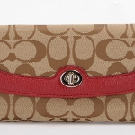 Coach Park Turn Lock Slim Envelope Wallet # 49165 สี Khaki/Cherry