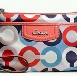 COACH ASHLEY OP ART SCARF MEDIUM WRISTLET SMALL POUCH # 49422 สี MULTICOLOR