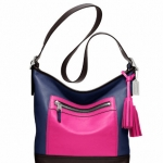 COACH Legacy Colorblock Leather Duffle # 19995 สี Fuchsia Multi