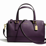 COACH SAFFIANO LEATHER MINI SATCHEL # 49392 สี Brass/Black Violet
