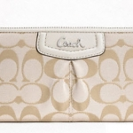 Coach Ashley Sateen Signature Jacquard Clutch Wallet # 48081 สี Silver / Cream Light Khaki / Ivory