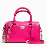 COACH BABY BENNETT SATCHEL IN CROSSGRAIN LEATHER # 34641 สี LIGHT GOLD/PINK RUBY
