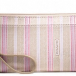 COACH LEGACY WEEKEND TICKING STRIPE ZIPPY WALLET # 49316 สี KHAKI PINK