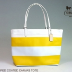 Coach Striped Coated Canvas Tote Handbag Purse # 30511 สี Sunglow White