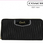 Coach ASHLEY GATHERED SATIN ZIP AROUND # 48115 สี Brass/Black