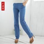 กางเกงแฟชั่นผ้าฝ้ายขายาวเรียบง่ายใส่สบาย สีน้ำตาลแดง/สีน้ำเงิน 2XL 3XL 4XL