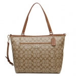 COACH PEYTON SIGNATURE POCKET TOTE # 33998 สี SADDLE