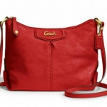 Coach ASHLEY LEATHER SWINGPACK # 48121 สี Silver/Cherry