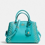COACH MINI MARGOT CARRYALL IN STUDDED CROSSGRAIN # 35217 สี LIGHT GOLD/CADET BLUE