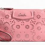 Coach ashley lace leather large wristlet #  48807 สี silver rose