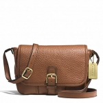 COACH HADLEY LUXE GRAIN LEATHER FIELD BAG # 31664 สี BRASS/SADDLE
