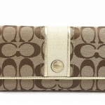 COACH SIGNATURE STRIPE CHECKBOOK WALLET # 48810 สี SILVER/KHAKI/GOLD