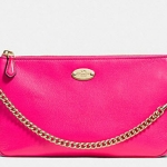 COACH LARGE WRISTLET 19 IN PEBBLE LEATHER # 53340 สี LIGHT GOLD/PINK RUBY