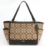 COACH PARK SIGNATURE LEATHER CARRIE TOTE # 28728 สี KHAKI/MAHOGANY