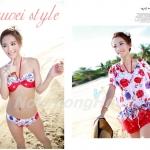 Swimsuit with cover 3pcs | ชุดว่ายน้ำลายดอกไม้แบบบิกินี่พร้อมเสื้อตัวนอก แฟชั่นเกาหลี  เซ็ต 3 ชิ้น