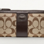COACH LEGACY SIGNATURE SLIM ZIP WALLET # 48437 สี Khaki Mahogani