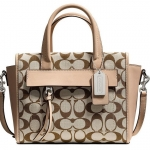 COACH BLEECKER MINI RILEY CARRYALL IN PRINTED SIGNATURE FABRIC # 30168 สี Light Khaki Madeira/Vachetta