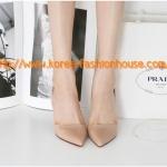[พร้อมส่ง] รองเท้าส้นสูง สีชมพูอ่อน สีดำ หัวแหลม มีสายรัดส้นข้างหลัง ไซส์36#37#38#39#