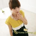 ชุดเดรสผ้ายืด เนื้อผ้าสแปนเด็กซ์ ( Spandex ) เล่นโทนสี 3 สี ด้านบนสีเหลือง ขาว ตัดต่อกระโปรงสีดำ สวมใส่สบาย ไม่ร้อน ใส่ทำงานน่ารักๆ ค่ะ