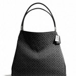 COACH MADISON SMALL PHOEBE SHOULDER BAG IN OP ART NEEDLEPOINT FABRIC # 26281 สี SILVER/BLACK