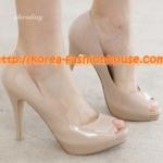 [พร้อมส่ง] รองเท้าส้นสูงสีชมพูนู้ด ไซส์ 37#38#39