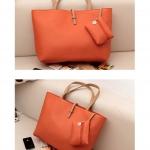 กระเป๋าแฟชั่น Axixi สายสีครีม ใบใหญ่ บรรจุของได้เยอะ สะพายได้ แบบเดียว สวยค่ะ -สีส้ม