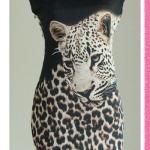 เดรสน่ารัก ชุดแซก ชุดเดรสราคาถูก รหัส DWT125 เดรสผ้ายืดสีดำพิมพ์ลายเสือ