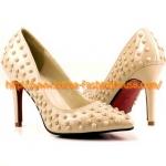 [พร้อมส่ง] รองเท้าส้นสูง สีเนื้อ ปักหมุด สีเนื้อ งานสวย แบรนด์ดังค่ะ 38#