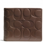 COACH SIGNATURE EMBOSSED LEATHER COMPACT ID WALLET# 74686 สี TOBACCO