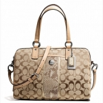 COACH SIGNATURE STRIPE PYTHON STRIPE SATCHEL BAG # 27364