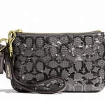 COACH POPPY SMALL WRISTLET IN SEQUIN SIGNATURE C FABRIC # 50481