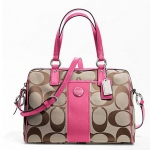 COACH SIGNATURE STRIPE SATCHEL # 24364 สี Khaki/Mulberry