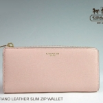 Coach Saffiano Leather Slim ZIP Wallet # 50923 สี Brass/Rose Pink