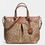 COACH SIGNATURE PLEAT TOTE # 34614 สี LIGHT GOLD/KHAKI/SADDLE