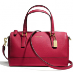 COACH SAFFIANO LEATHER MINI SATCHEL # 49392 สี Brass/Scarlet